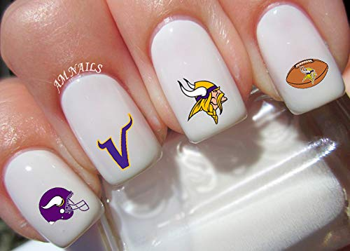 Minnesota Vikings Water Nail Art Transfers Stickers Decals - Set of 48 -