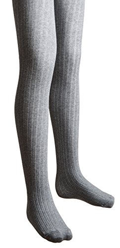 Sportoli Girls Ribbed Cotton Hold and Stretch Footed Winter Tights - Light Heather Grey (size 2/4)
