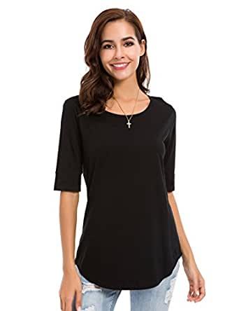 LUSMAY Womens Crew Neck Loose Fitting Tunic Shirts Cotton Casual Tops Black