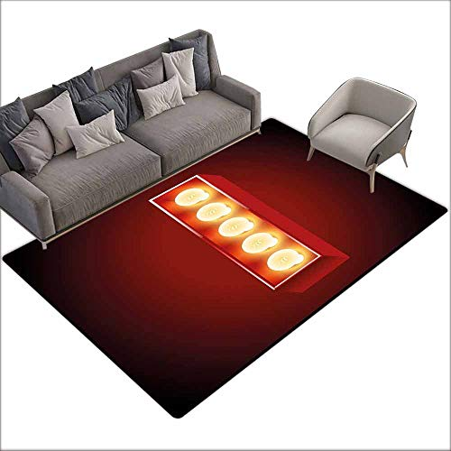 Office Chair Floor Mat Foot Pad Letter I,Retro Cinema Theater Vivid Color Scheme Writing Systems Capitalized I,Vermilion Yellow Black 48