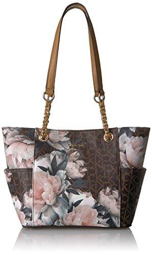 Calvin Klein Key Item Chain Monogram Tote Tote Bag, PEONY COMBO, One Size