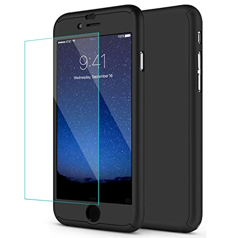 Price comparison product image iPhone 6S Case, iPhone 6 Case,SEEKFULL 360 Full Body Protection Ultra-thin Hard Slim Case with [Tempered Glass Screen Protector]case for Apple iPhone 6S 6... (Black)