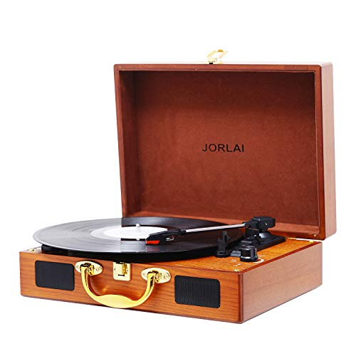 JORLAI Vinyl Record Player, 3 Speed Suitcase Turntable with Built-in Speakers, PC Recorder, Headphone Jack, RCA line Out - Wood … by JORLAI (Image #8)