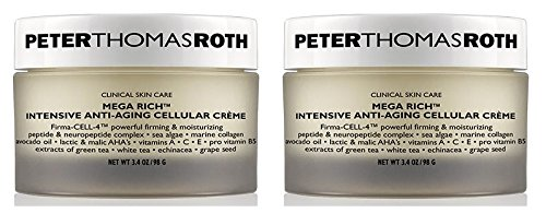 Peter Thomas Roth Cosmetics Mega-Rich Intensive Anti-Aging Cellular Creme (Pack of 2) With Avocado, Vitamin E and A and C, Ginger, Lemon, Gingko Biloba, Grapeseed, Green and White Tea, 3.4 oz. each