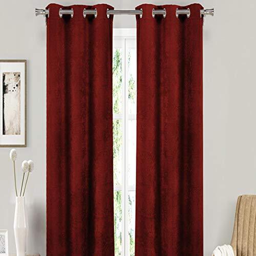 Pleated Button Valance - Blackout365 Sera Velvet Blackout Darkening Window Curtain Set of 2 Panels, 37 x 84, Red