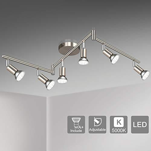 Unicozin LED 6 Light Track Lighting Kit, Matt Nickel 6 Way Ceiling Spot Lighting, Flexibly Rotatable Light Head, Modern…