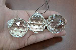 3 Pieces Asfour Clear Round Crystal Ball Prisms Feng Shui 40mm