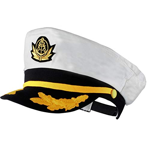 Yacht Captain Hat - Sailor Cap , Skipper Hat , Navy Marine Hat - Costume Accessories by Funny Party Hats