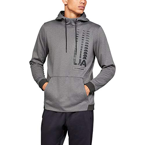 Under Armour Men's Armour Fleece Fade Pullover Hoodie, Charcoal Light Heath (019)/Black, Large