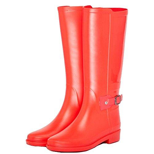 Mode Freizeit UK6 Rot hohe rutschfeste Farbe Stiefel Outdoor Schlauch sexy Stiefel Wasser Frauen Schuhe Sommer CN39 größe Regen Stiefel EU39 Stiefel wasserdichte Frühling Rot und Erwachsene 4tqx4p7wIg