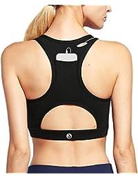 9dc6f32f09c24 Womens Sports Bra Medium Support Cross Back Padded Wireless Workout  Activewear Running Yoga Bra