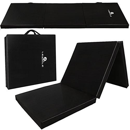 Lesmile PU Leather Gymnastics Mat,Exercise Mat Gym Folding Tumbling Exercise Mats Black