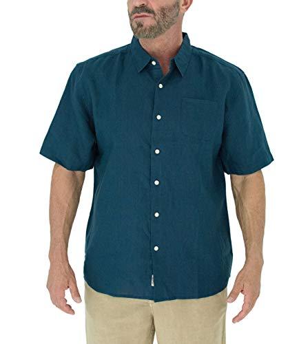 Short Fin Short Sleeve Button Down Linen Shirt (Size X Large, Navy L8040L)