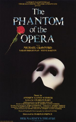 Phantom Of The Opera Broadway Costumes (The Phantom of the Opera 11 x 17 Inches - 28cm x 44cm Broadway Show Poster 1988 Featuring Michael Crawford, Sarah Brightman, Andrew Lloyd Webber.)