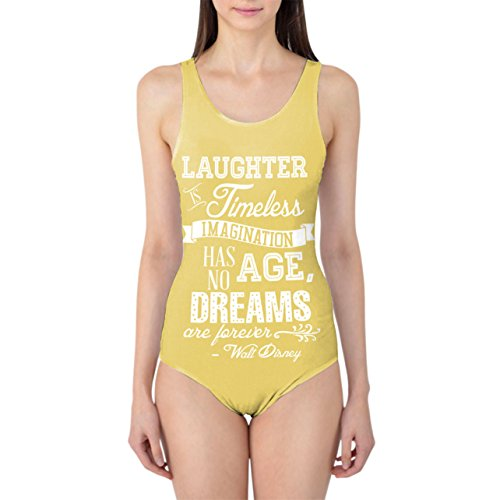 Laughter is Timeless Walt Disney Quote Yellow - L - Women's Swimsuit Badeanzug