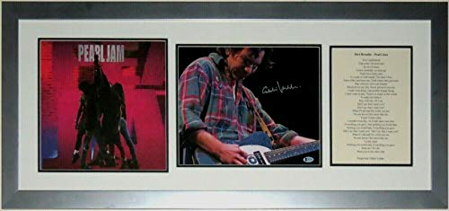 - Eddie Vedder Signed 11x14 Photo & Pearl Jam Ten Album & Lyrics - Beckett Authentication Services BAS COA Authenticated - Professionally Framed 40x18
