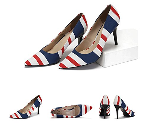 Heels Comfortable Summer Wedding Mouth Print Color Shoes Elegant 39 High Red Shoes Pointed Beautiful Size Work Striped Shallow fxqttwAP