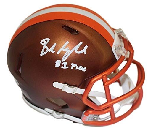 Baker Mayfield Autographed/Signed Cleveland Browns Blaze Mini Helmet BAS