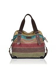 Feccoe Lady Canvas Striped Crossbody Bags Vintage Contrast Color Canvas Tote Handbags