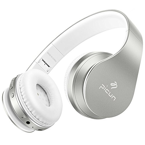 Silver Folding Headphone (Wireless Headphones Bluetooth with Microphone Stereo Bass Hifi Foldable Lightweight for Computer/Cell Phones/TV/Tablet Laptop Wired and Wireless Headphones Picun - Silver)