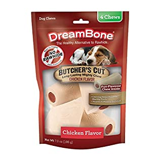 DreamBone Butcher's Cut Chews 4 Count, Rawhide-Free Chews For Dogs, With Chicken-Flavor Chew Center, Small