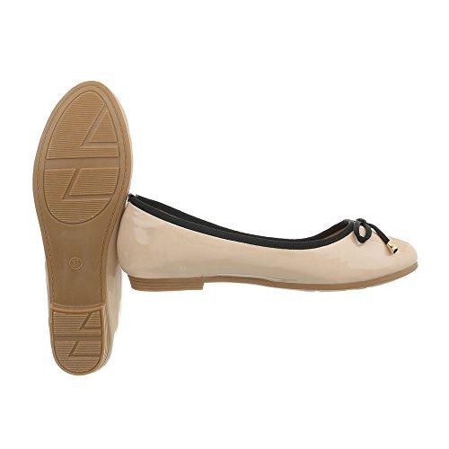Beige Donna Da A design Ballerine Ital 9740 Blocco Tacco Scarpe Classiche qxtzxSRW