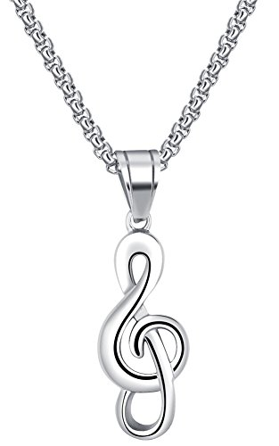 PAURO Men's Stainless Steel Hip Hop Musical Note Charm Pendant Necklace Gift for Music Lovers Silvet ()