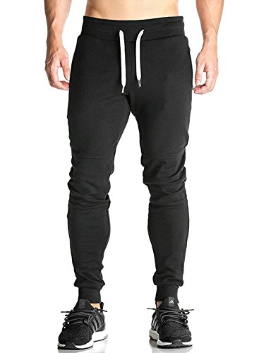 Ouber Men's Fitted Shorts Bodybuilding Workout Gym Running Jogger Pants (S, Black A)
