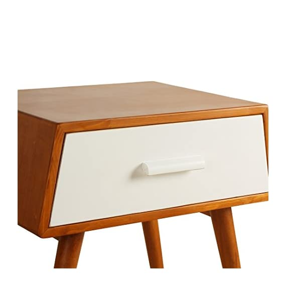 Porthos Home Brooklyn Mid-Century Walnut Side Table, White - Unique and warm design Solid wood body and legs Functional single drawer,walnut veneer - living-room-furniture, living-room, end-tables - 41cxcREf4YL. SS570  -