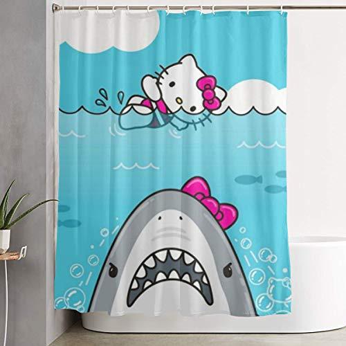 LYULIAN Hello Kitty Shark with Hook Stylish Shower Curtain Printing Waterproof Bathroom Curtain 60 X 72 Inches