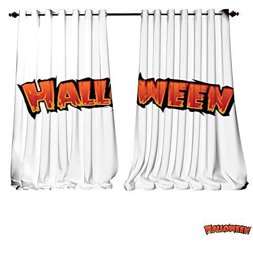 DESPKON-HOME Room Darkening Wide Curtains Happy Halloween Text