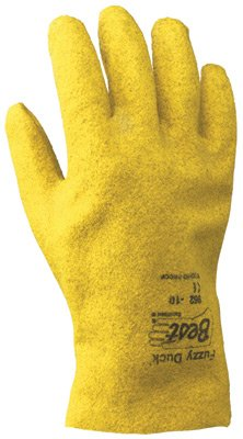 SHOWA Best® Glove Small Fuzzy Duck® Heavy Duty Abrasion Resistant Yellow PVC Fully Coated Work Gloves With Cotton And Jersey Liner And Slip-On ()