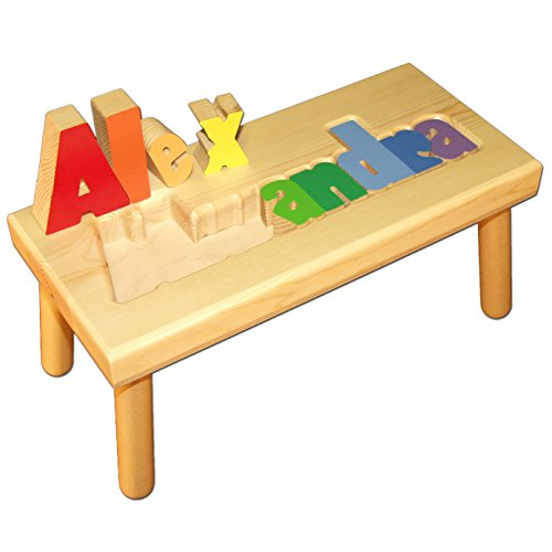 (Damhorst Toys & Puzzles Personalized Wooden Child's Name Puzzle Stool - Large)