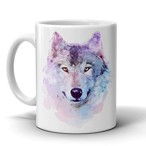 Wolf Coffee Mug - Watercolor Art 11 Oz. Ceramic – Printed Cup for Tea – Perfect Gift for your Love Ones - Wolf Ceramic Mugs