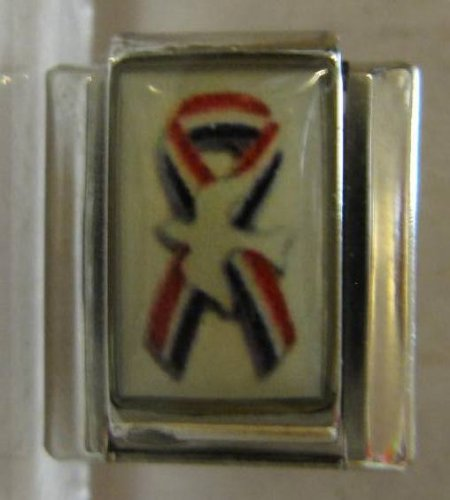 Eagle Italian Charm - 9mm Italian Charm... Rememberance Ribbon with American Flag and White Dove