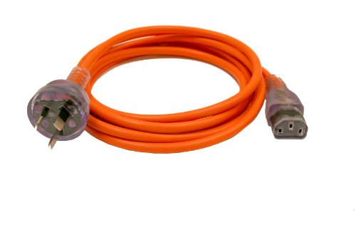 Interpower 86210150 Australian Hospital Grade Cord Set, AS/NZS 3112:2000 Plug Type, IEC 60320 C13 Connector Type, Clear Plug Color, Orange Cable Color, 10A Amperage, 250VAC Voltage, 2.5m Length by Interpower