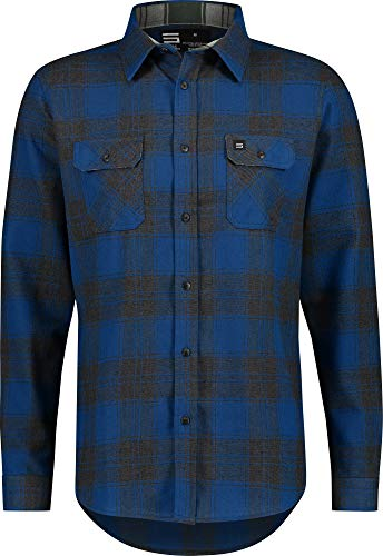 Flannel Shirt for Men - Dry Fit Long Sleeve Button Down - Moisture Wicking and Stretch Fabric Plaid Shirts Royal Blue