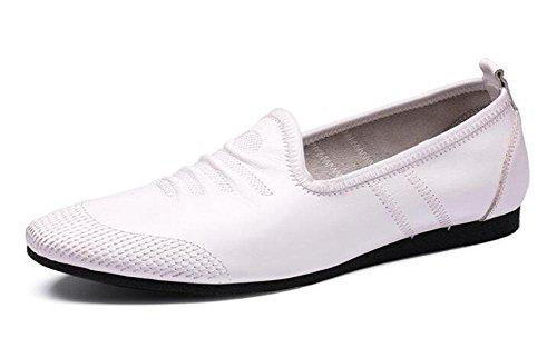 Männer Slip-On Oxford Sommer Breathable Männer Schuhe Casual Schuhe Erbsen Schuhe Weiche Leder Leder Bequeme flache Schuhe , white , 42