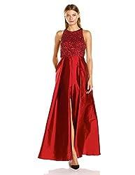 Halter Neck Beaded Dress with Taffeta Skirt