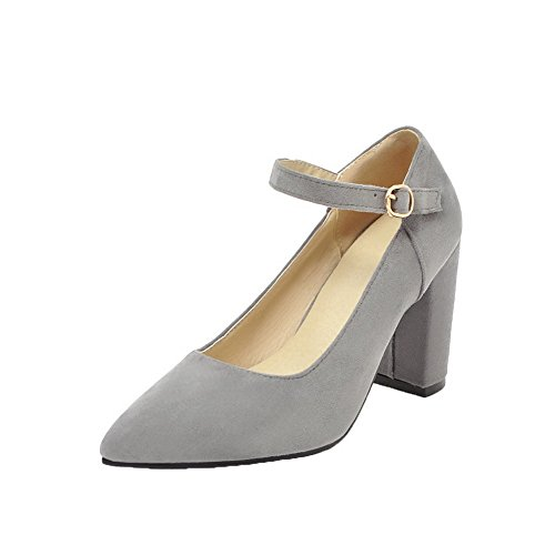 WeiPoot Toe Women's Solid Pumps Heels High Frosted Gray Shoes Pointed Buckle OrrBq6I