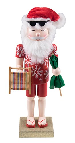 Clever Creations Traditional Beach Santa Claus Nutcracker Collectible Wooden Christmas Nutcracker | Festive Holiday Decor | Wearing Hawaiian Shirt and Holding a Chair | 100% Wood | 14
