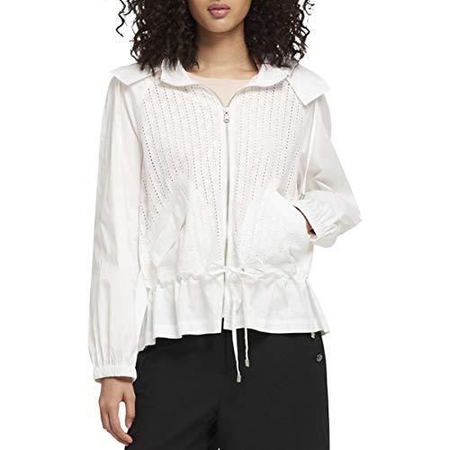 - DKNY Womens Eyelet Hooded Basic Jacket White L