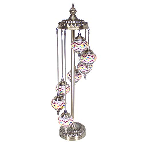 Kindgoo Turkish Mosaic Floor Lamp Handcrafted Multicolored Glass Standing Lamp 7 Lights Led Bulbs Included (Gold)