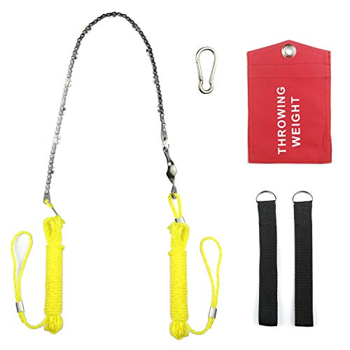 24 inchs Hand Chain Saw for High Limb Tree Branch, Rope-and-Chain Saw with Blade Sharpener, Ropes,Throwing Weight Pouch Bag