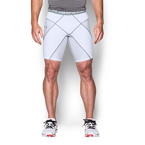 Under Armour Mens HeatGear Armour Compression Coreshorts, White/White, Large