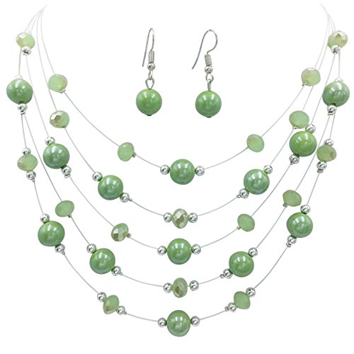 Gypsy Jewels Multi Row Beaded Illusion Wire Lightweight Necklace and Dangle Earring Set (Light Green Simulated Pearl & - Green Pearl Turquoise