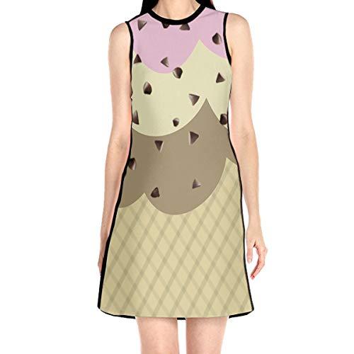 Women¡¯s Sleeveless Scuba Sheath Dress Ice Cream Wallpaper Print Casual/Party/Wedding Dress M
