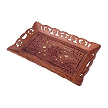 Decorative Rosewood Coffee Serving Tray Fruit Platter with Brass Inlay Kitchen Dining Accessory