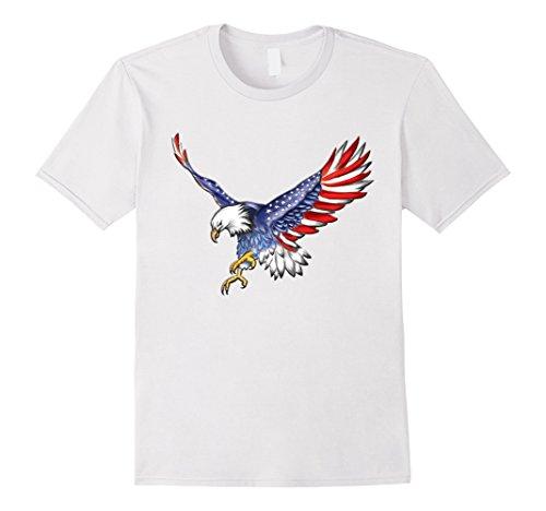 July Eagle Flag T-shirt (Mens USA Flag Bald Eagle T-shirt American Flag 4th Of July shirt Medium White)