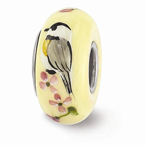Fenton Yellow Hand Painted Chickadee Glass & Sterling Silver Charm